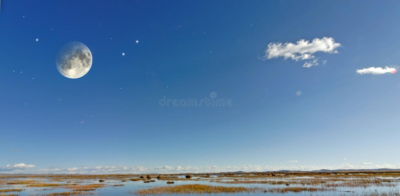 Luna e stelle fotografie stock
