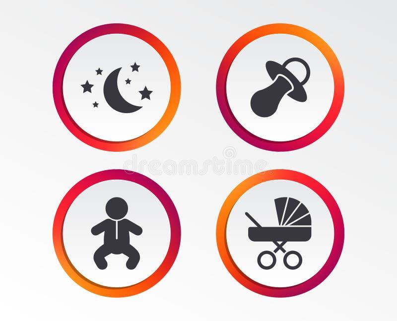 Luna e stelle Icona dell'infante del bambino Carrozzino, fittizio illustrazione di stock