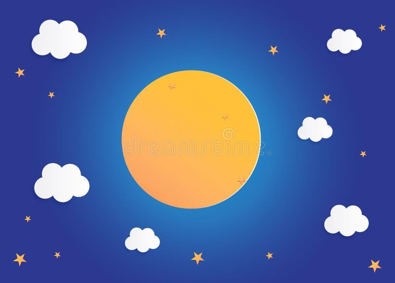 Luna e stelle nella mezzanotte, illustrazione piana di vettore di progettazione di arte del fondo di carta di stile illustrazione di stock