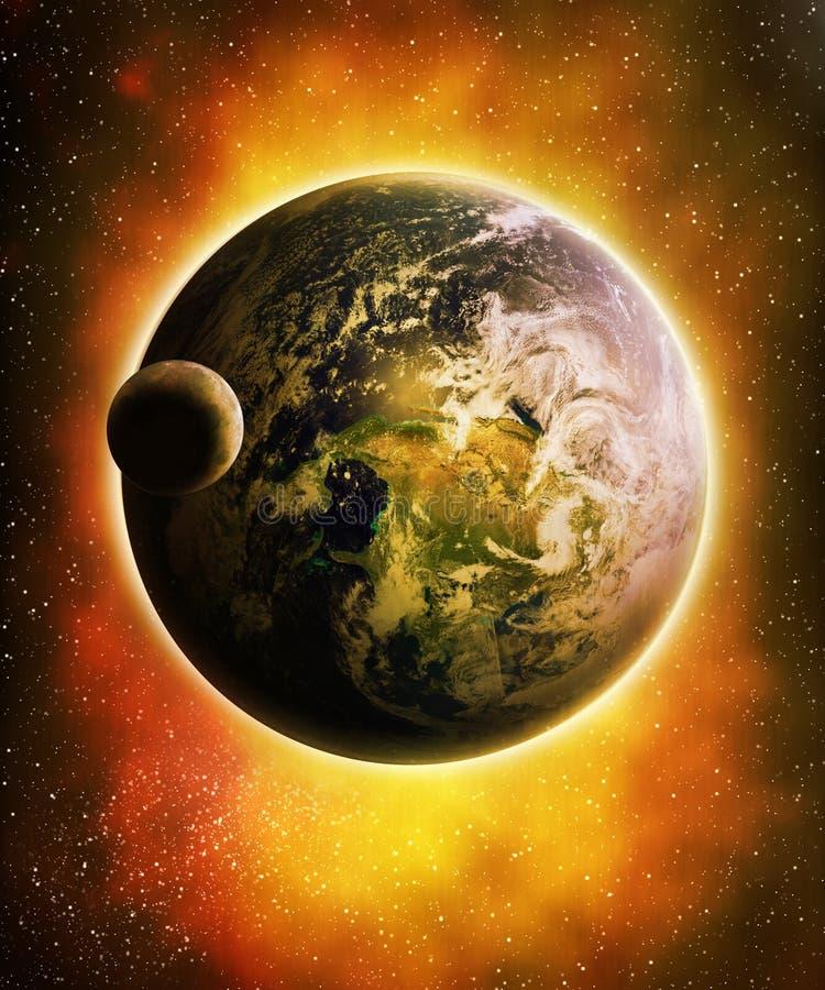 Luna e terra illustrazione di stock