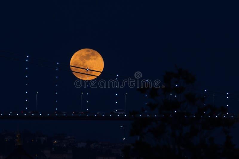 Luna eccellente del sangue blu dietro il ponte di Bosphorus a Costantinopoli, Turke fotografia stock