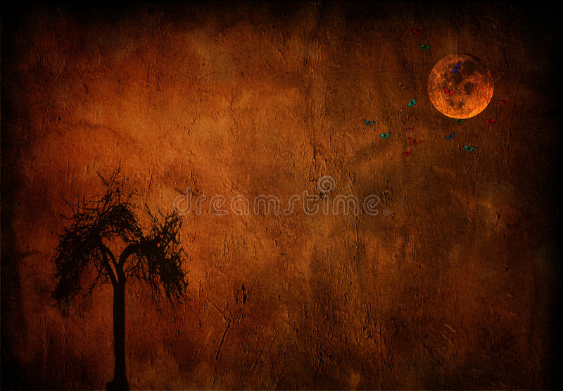 Luna ed albero royalty illustrazione gratis
