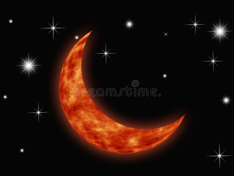 Luna en galaxia stock de ilustración
