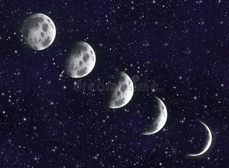 Luna en la galaxia stock de ilustración