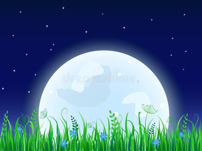 Luna enorme con il prato dell'erba illustrazione di stock