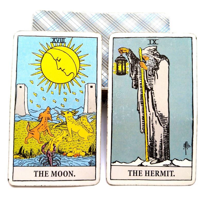Luna/ermitaño de la tarjeta del nacimiento del tarot ilustración del vector
