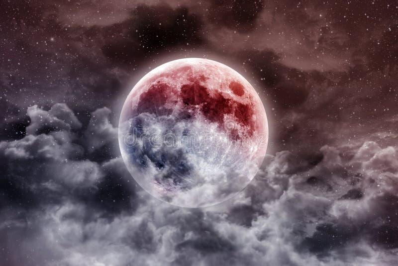Luna estupenda de la sangre azul stock de ilustración