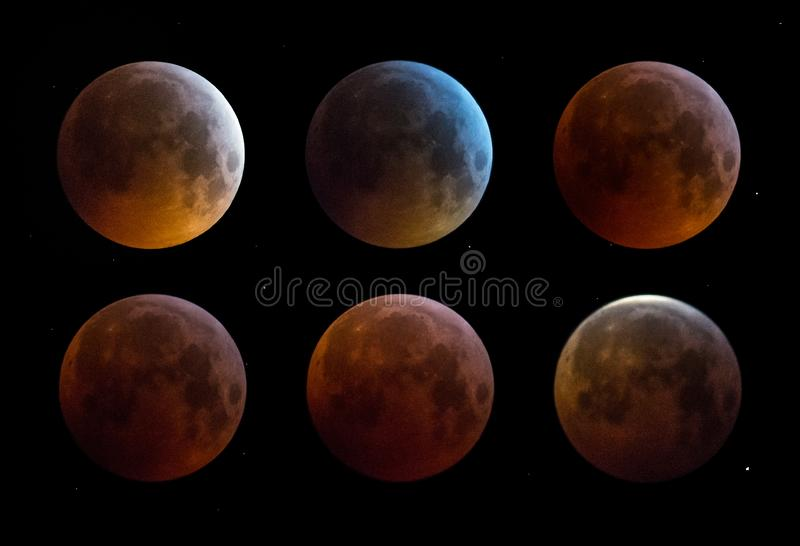 Luna estupenda del lobo de la sangre de enero de 2019 imagenes de archivo