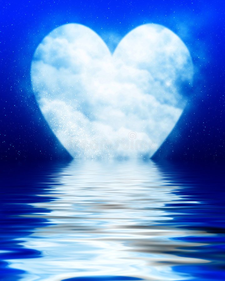 Luna a forma di del cuore illustrazione di stock