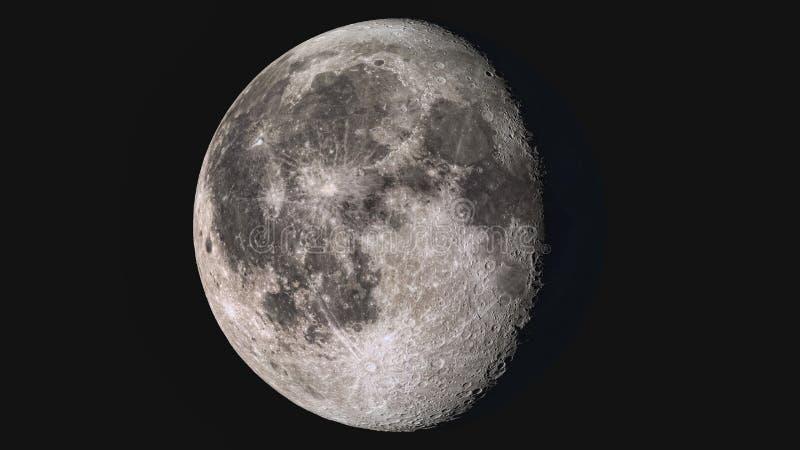 Luna gibosa de disminución detallada estupenda maravillosa foto de archivo