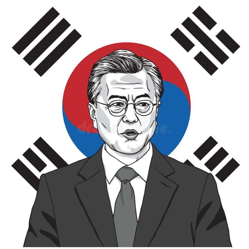 Luna Jae-nel presidente della Corea del Sud con il fondo della bandiera Illustrazione di vettore 17 settembre 2017