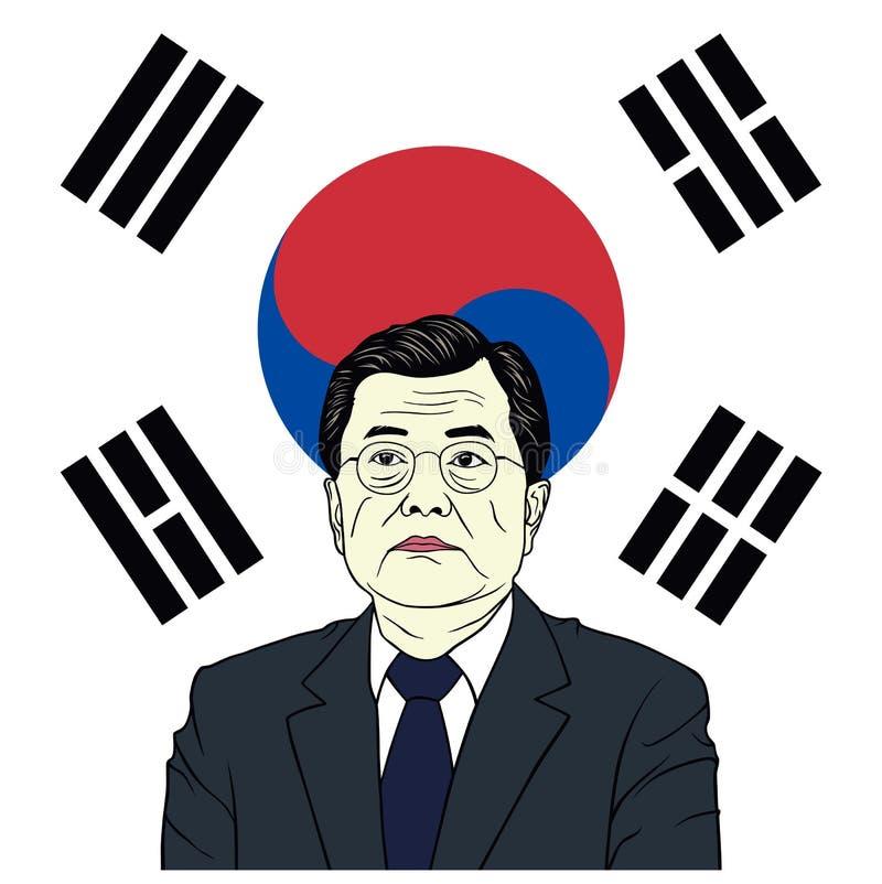 Luna Jae-in, presidente della Corea del Sud con progettazione piana di vettore del ritratto del fondo della bandiera, caricatura