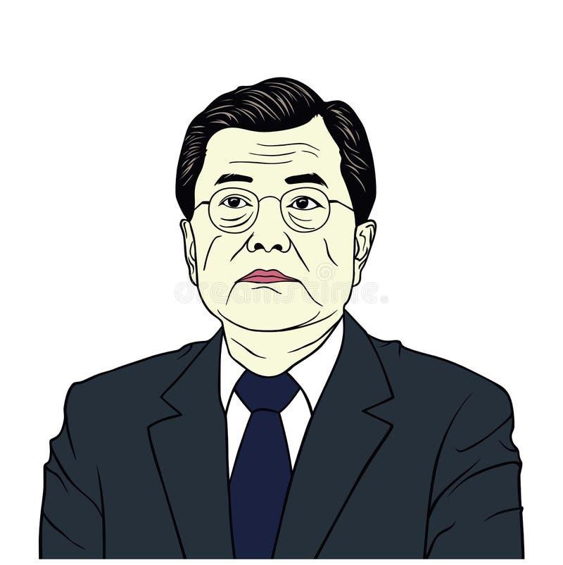 Luna Jae-in, presidente di progettazione piana di vettore del ritratto della Corea del Sud, caricatura, illustrazione