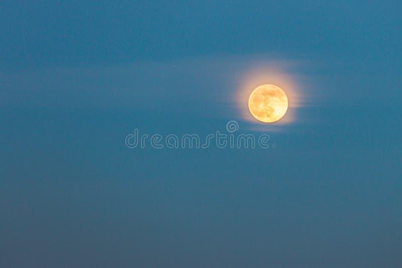 Luna llena al atardecer y nubes pequeñas delante de fondo natural foto de archivo