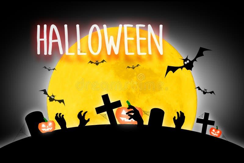 Luna Llena asustadiza de Halloween y árbol muerto así como un horror b ilustración del vector