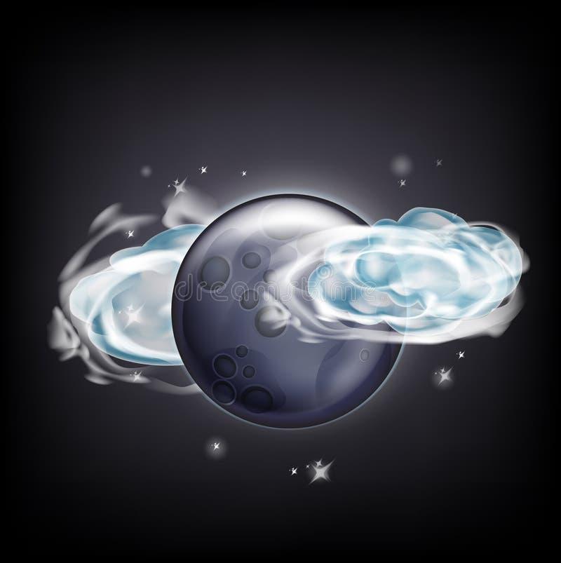 Download Luna Llena Con Las Nubes Sobre El Cielo Oscuro Con Las Estrellas Ilustración del Vector - Ilustración de misterio, astrología: 42439167
