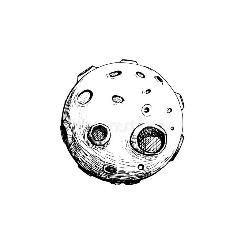 Luna Llena con los cráteres Drenaje de la mano del ejemplo del vector Línea arte ilustración del vector