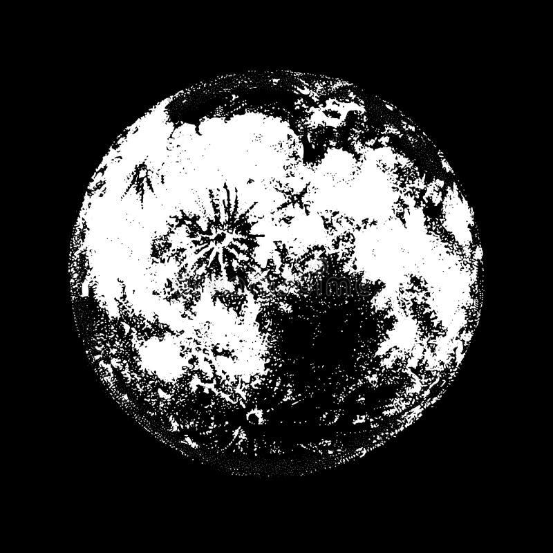 Luna Llena contra la mano dibujada en fondo negro Dibujo del cuerpo celeste, del objeto astronómico lunar o del satélite adentro stock de ilustración