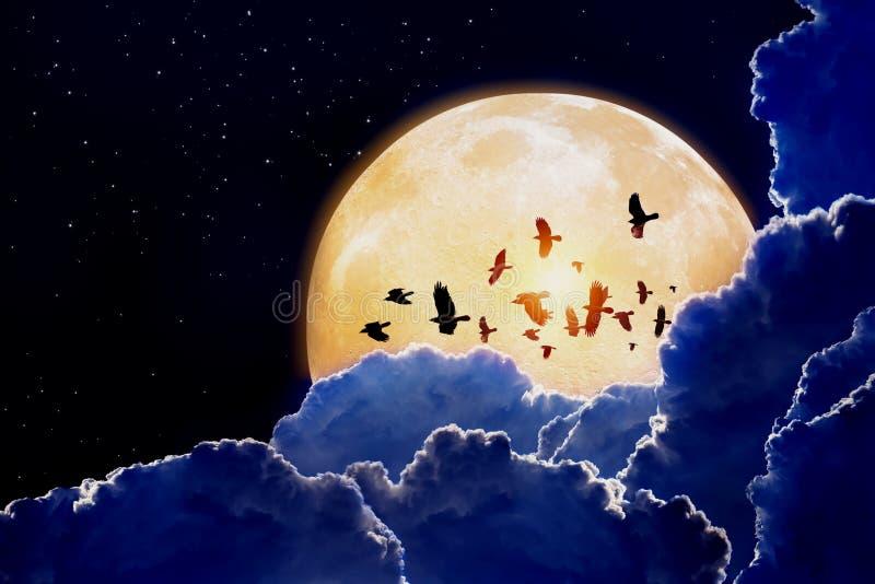 Luna Llena, cuervos foto de archivo libre de regalías