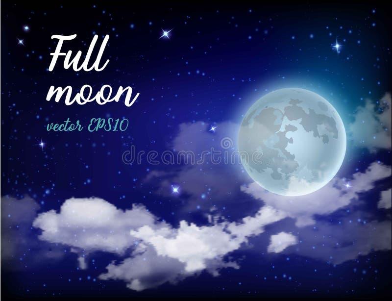 Luna Llena del cielo místico contra la perspectiva de la galaxia y de la vía láctea Noche del claro de luna Nubes realistas brill libre illustration
