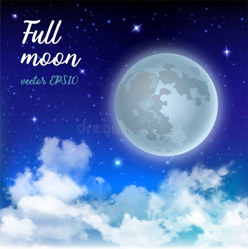 Luna Llena del cielo místico contra la perspectiva de la galaxia y de la vía láctea Noche del claro de luna Nubes realistas brill ilustración del vector