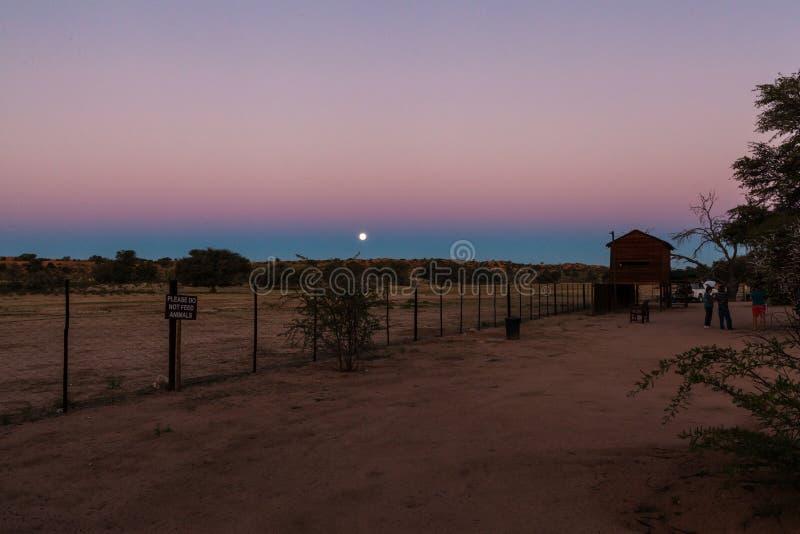 Luna Llena en el sitio para acampar de Nossob, Kgalagadi, Suráfrica fotos de archivo libres de regalías