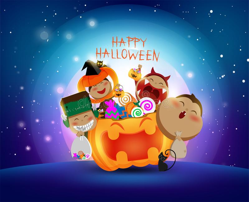 Luna Llena en Halloween, día con los niños que llevan cosplay lindo, caramelo, calabaza, truco o la invitación libre illustration