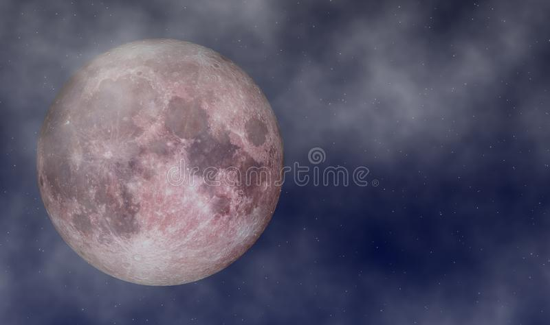 Luna Llena en junio en el cielo estrellado con el fondo de las nubes libre illustration
