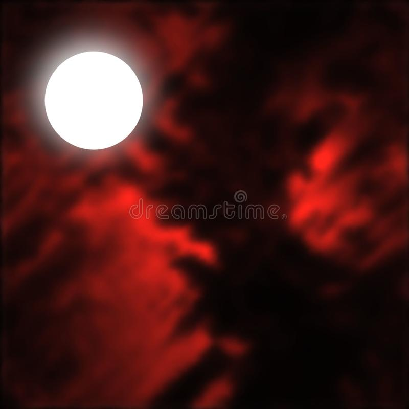 Luna Llena fantasmagórica contra un cielo rojo sangre libre illustration