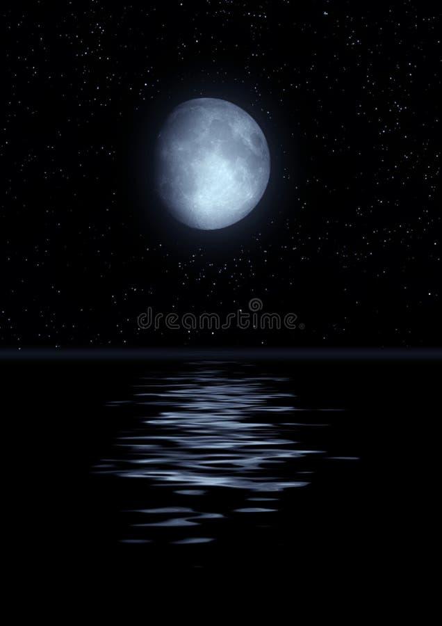 Luna Llena reflejada en agua libre illustration