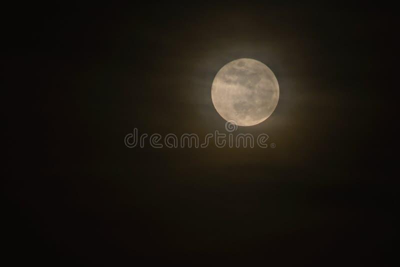Luna Llena sobre el cielo del negro oscuro Noche con las nubes fotografía de archivo
