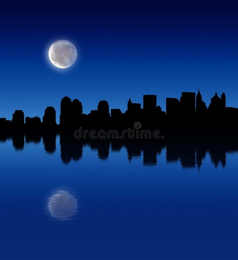 Luna Llena sobre la ciudad ilustración del vector