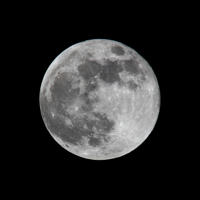 Luna Llena tirada en negro imagen de archivo