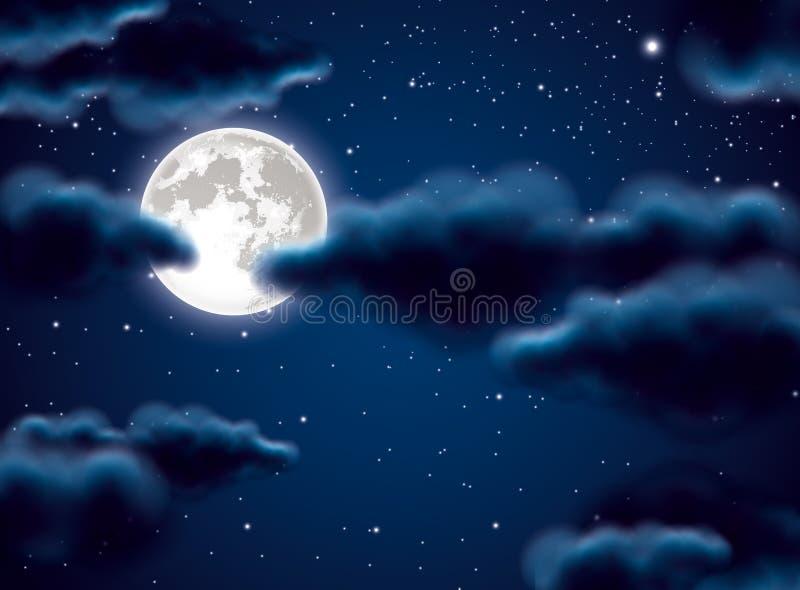 Luna Llena y nubes stock de ilustración