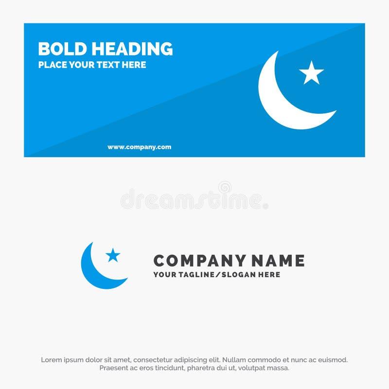 Luna, notte, stella, insegna solida del sito Web dell'icona di notte ed affare Logo Template royalty illustrazione gratis