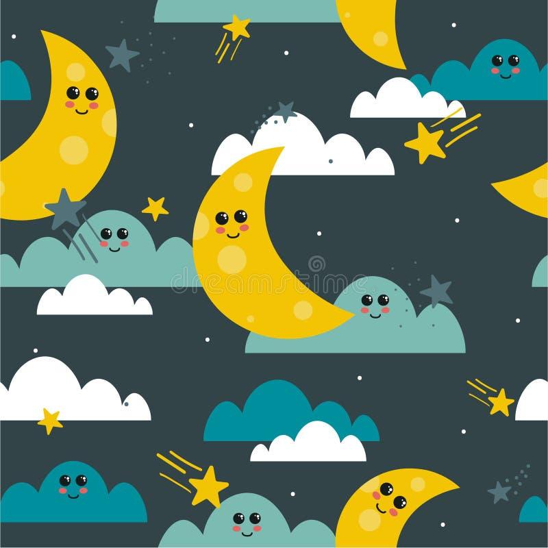 Luna, nubes y estrellas, modelo inconsútil colorido Fondo decorativo, cielo nocturno ilustración del vector