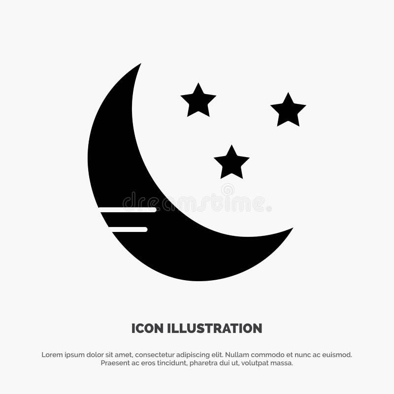 Luna, nuvola, vettore solido dell'icona di glifo del tempo royalty illustrazione gratis