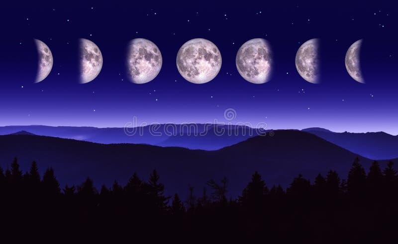 Luna o ejemplo lunar de las fases Paisaje escénico de la noche de las diversas fases de la luna ilustración del vector