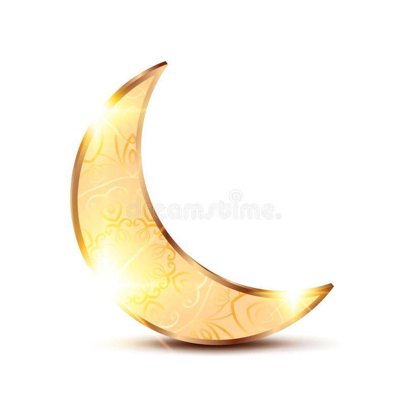 Luna ornamental de oro stock de ilustración
