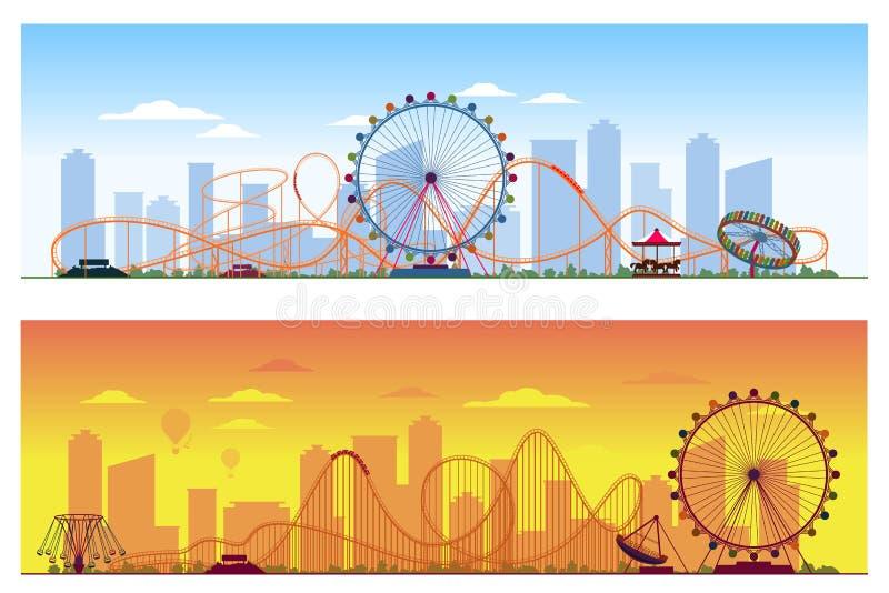 Luna park concept. Amusing entertainment amusement. Park colored background vector illustration. Carousel and wheel ferris, rollercoaster illustration on city vector illustration