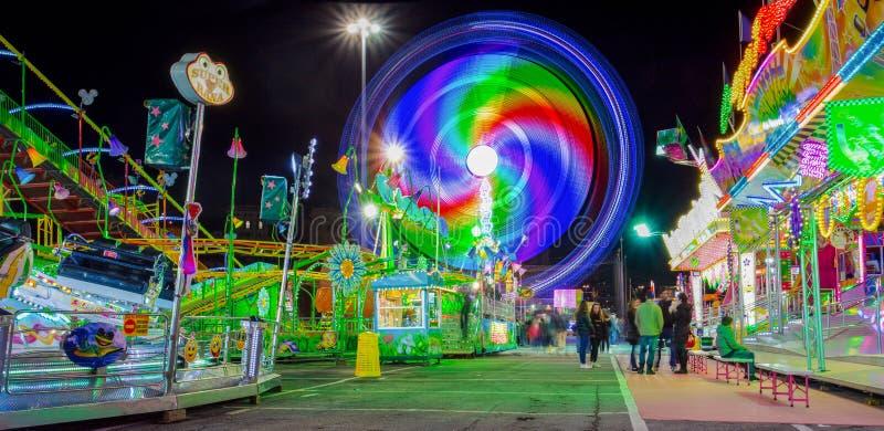 Luna Park di Genova, il più grande parco di divertimenti mobile in Europa, Italia immagini stock
