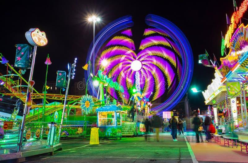 Luna Park di Genova, il più grande parco di divertimenti mobile in Europa, Italia fotografie stock