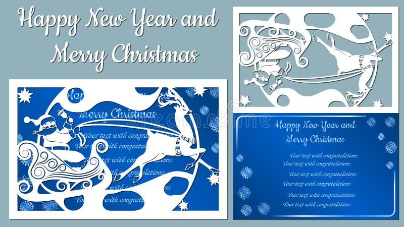Luna, picea, madera, trineo, reno Vector Corte del trazador cliche La imagen con la inscripción - Feliz Navidad stock de ilustración