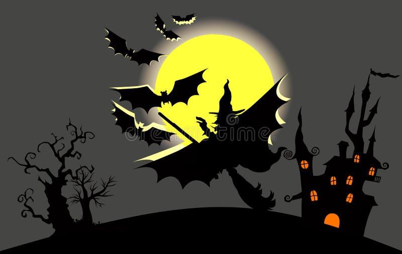 Luna piena anteriore della strega scura del castello con i pipistrelli Disegno dell'illustrazione royalty illustrazione gratis