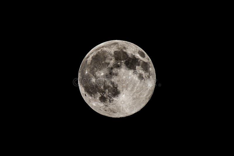 Luna piena in cielo nero, vista dettagliata fotografia stock libera da diritti