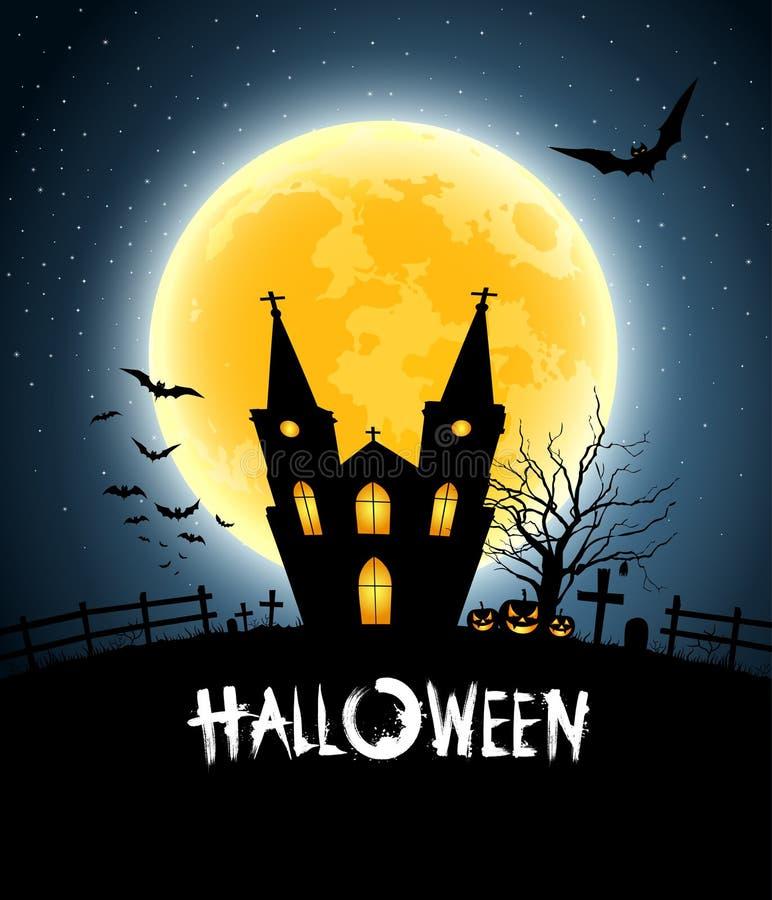 Luna piena del partito di casa di Halloween illustrazione di stock