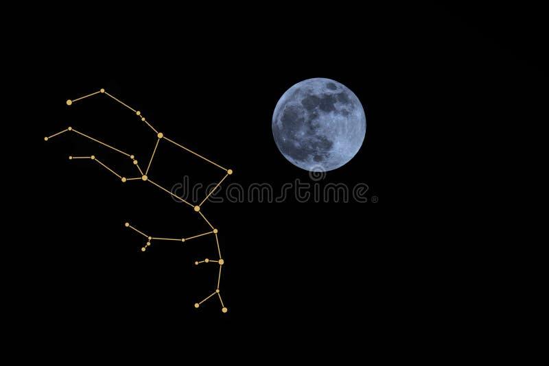 Luna piena e costellazione di Pegaso fotografie stock libere da diritti