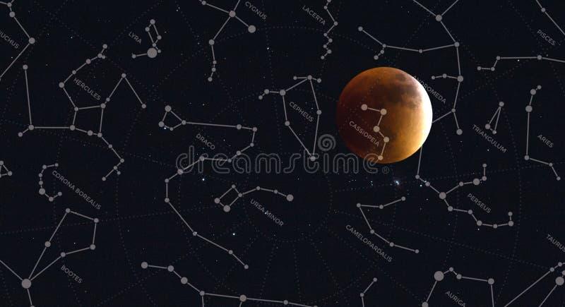 Luna piena e costellazioni dell'emisfero nord fotografia stock libera da diritti