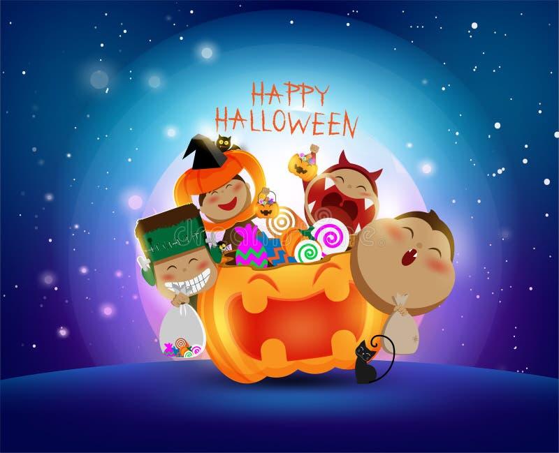 Luna piena in Halloween, giorno con i bambini che indossano cosplay sveglio, caramella, zucca, scherzetto o dolcetto royalty illustrazione gratis