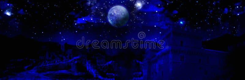 Luna piena scura di notte royalty illustrazione gratis